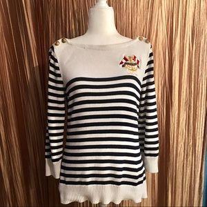 Vintage Ralph Lauren Striped Crest Sweater Size M